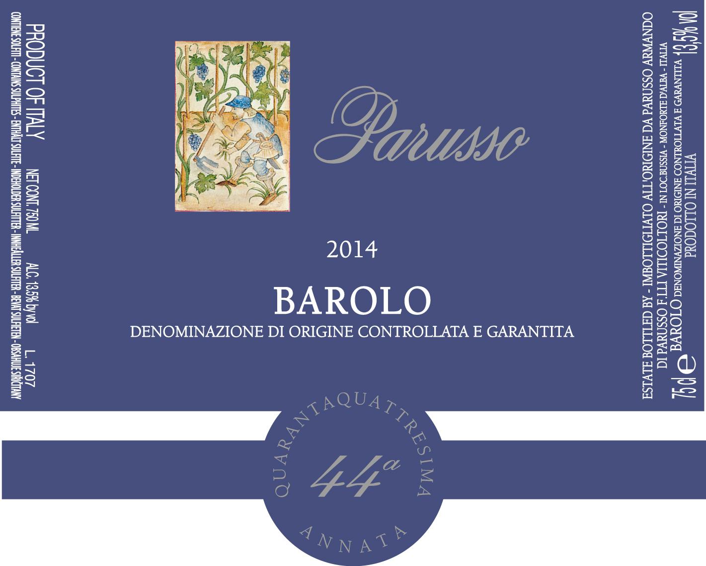 Barolo DOCG 44° Annata Etichetta Blu 2014